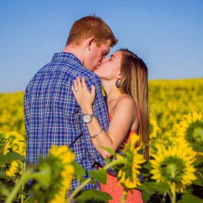 Sunflower Field Engagement Photos Kelly Heck Photography