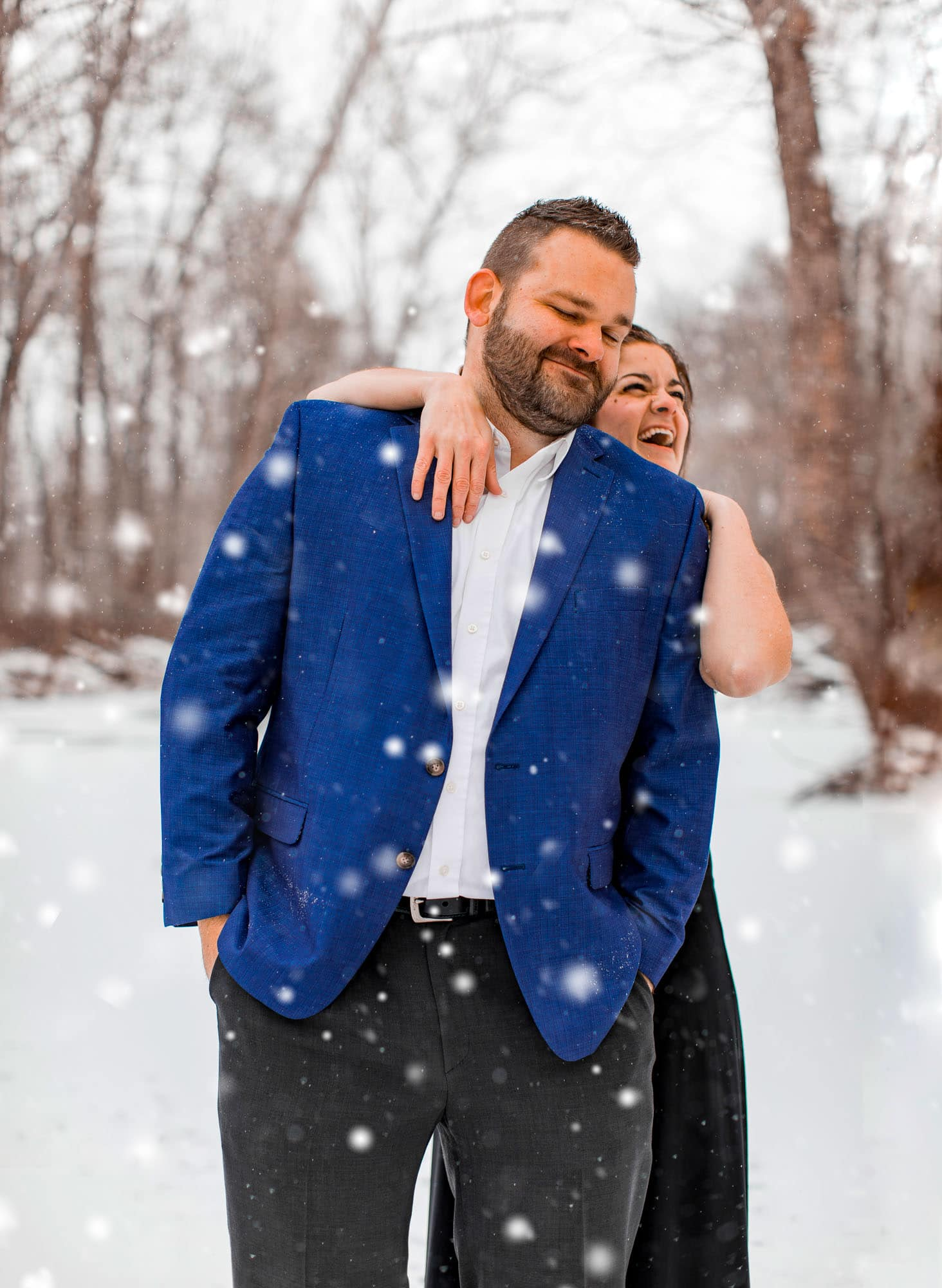 Kelly Heck and Adam Stultz Engagement Photos in Taneytown, Maryland in the snow on the ice