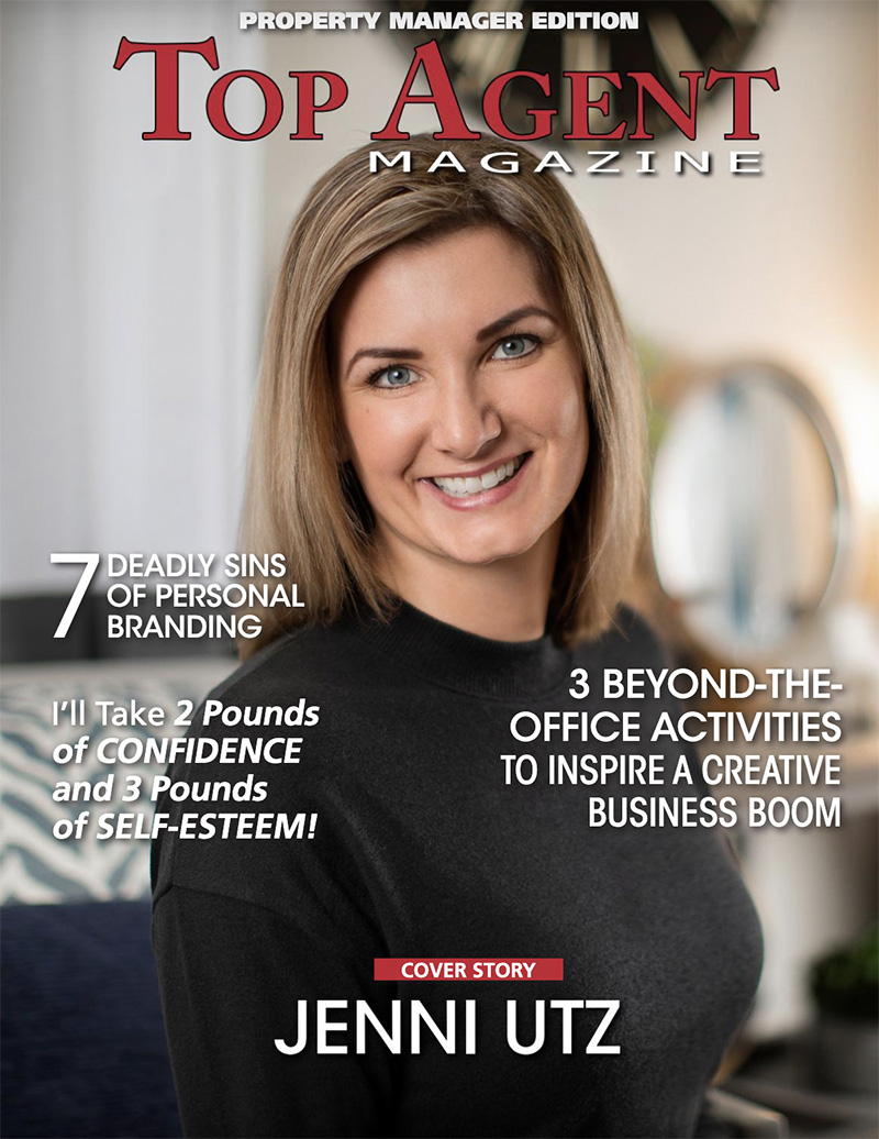 Top Agent Magazine features Jenni Utz Real Estate Agent and Property Manager - Cover Shot by Kelly Heck Photography